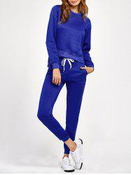 Side Slit High Low Sweatshirt and Pants -