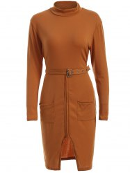 High Neck Long Sleeve Belted Slit Sheath Dress - ORANGE XL