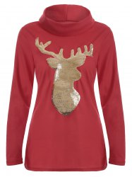 Cute Long Sleeve Christmas High Neck Elk Sequin T-Shirt