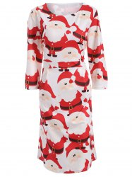 Plus Size Christmas High Waist Dress -