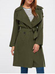 Lapel Wrap Back Slit Long Trench Coat