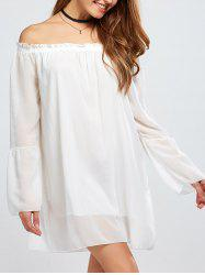 Chiffon Off The Shoulder Bell Sleeve Blouse -