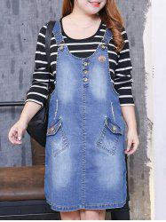 Plus Size Bleach Wash Denim Pinafore Dress