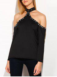 Cold Shoulder Halter T-Shirt with Rhinestones