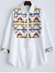 Zigzag Long Sleeve Shirt - WHITE 5XL