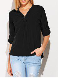V Neck Zipper Long Sleeve Blouse