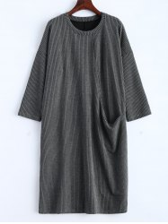 Drop Shoulder Ribbed Jumper Dress with Pockets -