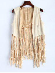 Faux Suede Fringed Waistcoat