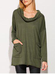 Buttons Drop Shoulder Cowl Neck T-Shirt - ARMY GREEN