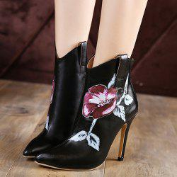 Stiletto Heel Flower Painted Boots - BLACK