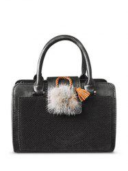 Suede Panel Pompon PU Leather Handbag -