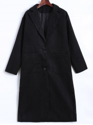 Lapel Two Button Pocket Design Long Coat