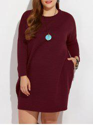 Plus Size Textured Pocket Design Dress