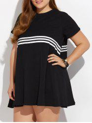 Plus Size Striped Pocket Design Dress