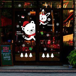 Cartoon DIY Bear Rabbit Window Decor Christmas Wall Stickers