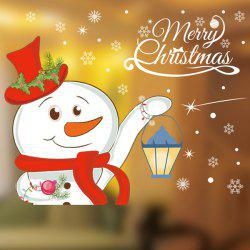 Merry Christmas Snowman Shop Showcase Kids Room Wall Stickers -