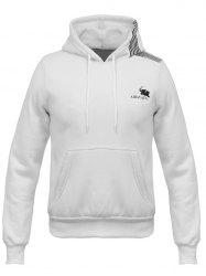 Hooded Oblique Stripe Elephant Print Flocking Hoodie - WHITE XL