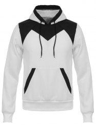 Hooded Color Block Design Flocking Hoodie -