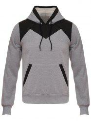 Hooded Color Block Design Flocking Hoodie