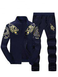 Stand Collar Dragon Print Zip Up Jacket and Pants Twinset - DEEP BLUE