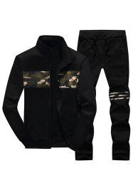 Stand Collar Camouflage Insert Zip Up Jacket and Pants Twinset