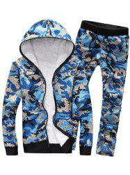 Camouflage Zip Up Flocking Hoodie and Pants Twinset -