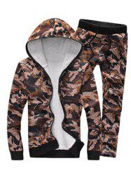 Camouflage Zip Up Flocking Hoodie and Pants Twinset