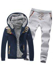 Plus Size Insert Design Zip Up Flocking Hoodie and Pants Twinset -
