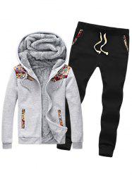 Insert Plus Size Zip Up Flocking Hoodie and Pants Twinset -