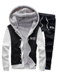 Color Block Plus Size Zip Up Flocking Hoodie and Pants Twinset
