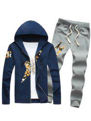 Lightning Insert Plus Size Zip Up Hoodie and Pants Twinset -
