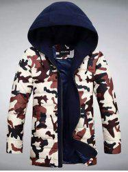 Zip Up Camouflage Hooded Quilted Coat -