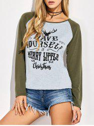 Raglan Sleeve Letter Christmas T-Shirt - GRAY L
