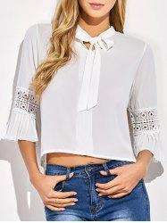 Cropped Flare Sleeve Bowknot Blouse