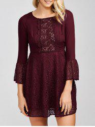High Waist Short Dress with Lace Panel - DARK RED XL