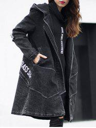 Dark Wash Long Denim Coat Jacket With Hooded - BLACK