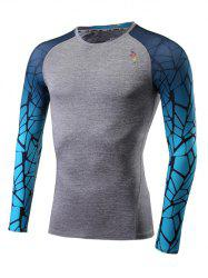 Ombre Geometric Print Quick Dry Raglan Sleeve Fitness T-Shirt - LIGHT GRAY