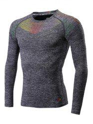 Colorful Square Print Splicing Quick Dry Raglan Sleeve Fitness T-Shirt