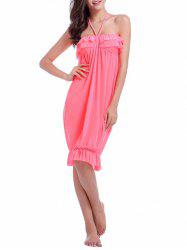 Halter Flounced Cover Up Dress