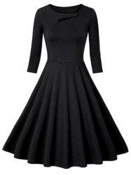 Flounce Fit and Flare Vintage Dress - BLACK 2XL