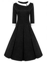 High Waisted Fit and Flare Vintage Dress -