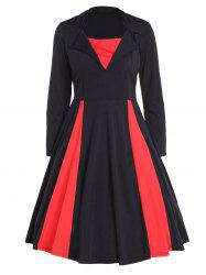 Vintage Color Block Pin Up Dress