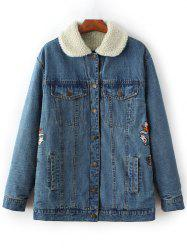 Embroidered Lamb Wool Denim Coat - BLUE