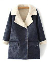 Faux Shearling Suede Peacoat - DEEP GRAY M