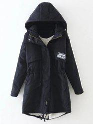 Hooded Drawstring Puffer Coat - BLACK XL