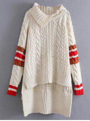 High Low Cable Knit Funnel Sweater