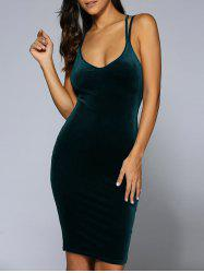 Criss-Cross Velvet Bodycon Slip Dress - BLACKISH GREEN