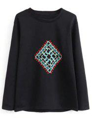 Crew Neck Geometric Embroidered Sweatshirt -