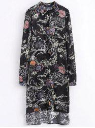 Shirt Neck High Low Retro Floral Shirt Dress -