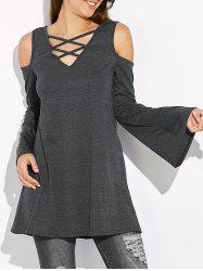 Cold Shoulder Flare Sleeve T-Shirt - GRAY XL
